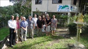 Participants break for a group photo during a writeshop early this month in Phuket, Thailand, where they began work to integrate training curricula for an Ecosystem Approach to Fisheries Management (EAFM) course that can be shared across the Coral Triangle region, South Asia, and other areas. The building in the background is the office of the Bay of Bengal Large Marine Ecosystem Project. Photo courtesy of Chris Grose, IMA International