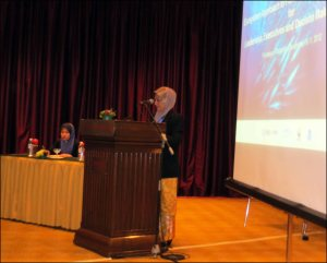 "Prof. Dr. Nor Aieni Binti Haji Mokhtar, the undersecretary and director of Malaysia's National Oceanography Directorate, Ministry of Science, Technology, and Innovation, gives the official opening for the ""Ecosystem Approach to Fisheries Management for Leaders, Executives, and Decision Makers"" training course. NOAA photo by Megan Moews"