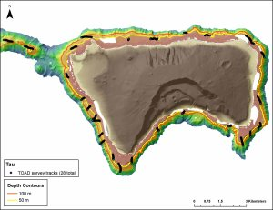 Figure 6. Map showing tracks of the camera sled during surveys around the island of Ta`u.