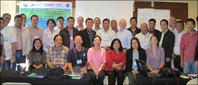 Participants pose on March 15 for a group shot during a 2-day training workshop on an Ecosystem Approach to Fisheries Management for leaders, executive, and decision makers in Quezon City, Manila, Philippines. NOAA photo