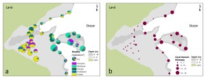 Figure 4. Spatial comparison of (a) coral-colony density (colonies/m2) and (b) total coral generic richness from belt-transect surveys conducted in March–August 2012 in Faga`alu Bay. The color-coded pie charts indicate densities of selected dominant coral genera, and pie-chart size is proportional to total colony density.