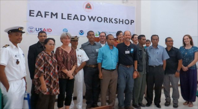 Several representatives from government agencies, academia, and the naval force of Timor-Leste, shown above in this group photo taken on March 6, participated in a 2-day course on an Ecosystem Approach to Fisheries Management for executives, and decision makers (LEAD) in Dili, Timor-Leste. NOAA photo