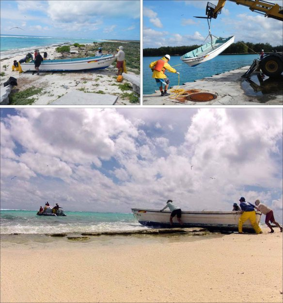 On April 7, a 9-member team from the PIFSC Coral Reef Ecosystem Division successfully removed from the shoreline of Eastern Island, Midway Atoll, a 23.5-ft fishing vessel that has been confirmed as lost during the March 2011 Japan tsunami event. Upper left: Team members siphon out water from the boat's hull space before moving it down the beach. Above: Team members shove the fishing vessel off the shoreline and hook up a tow line between it and a 17-ft Avon inflatable boat for towing to Midway's Sand Island. Upper right: James Morioka (left) and Joao Garriques tend lines as they lift the fishing boat out of the harbor at Sand Island. NOAA photos by Kevin O'Brien, Kristen Kelly, and Edmund Coccagna