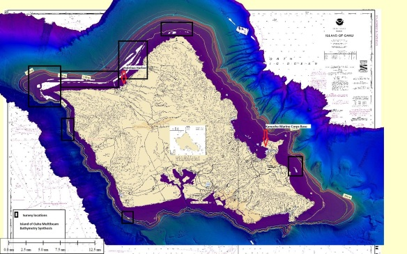 The small white areas within the purple-colored band that surrounds the island of O`ahu in this map indicate gaps in the existing coverage of high-resolution bathymetry on the western, northern, and eastern sides of this island. Weather permitting, the current survey mission will fill all of those gaps at depths shallower than about 200 m (660 ft).