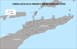 This map shows the sites along the northern coast of Timor-Leste where water samples will be collected near both the surface of the ocean and the bottom of the seafloor on June 4–27. These sites were among the locations where a CRED team deployed equipment for ocean acidification monitoring last October.