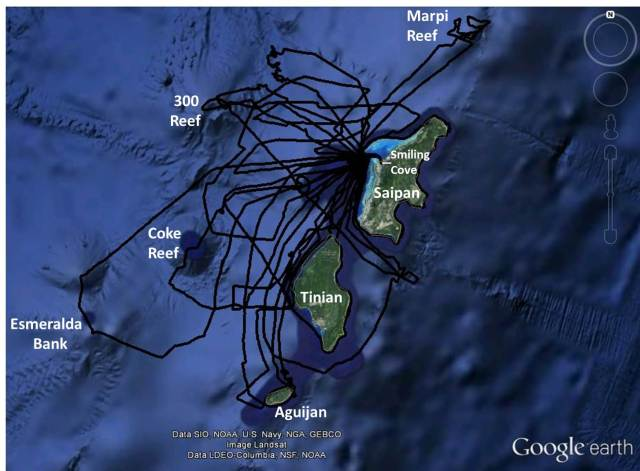 Figure 1- Saipan Tinian Aguijan tracklines