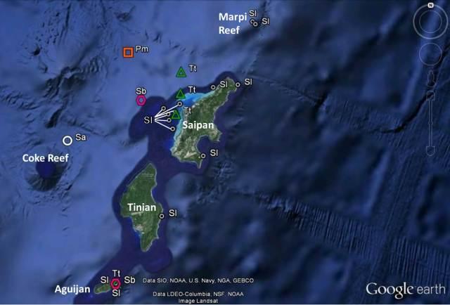 Figure 9- Saipan Tinian Aguijan sightings