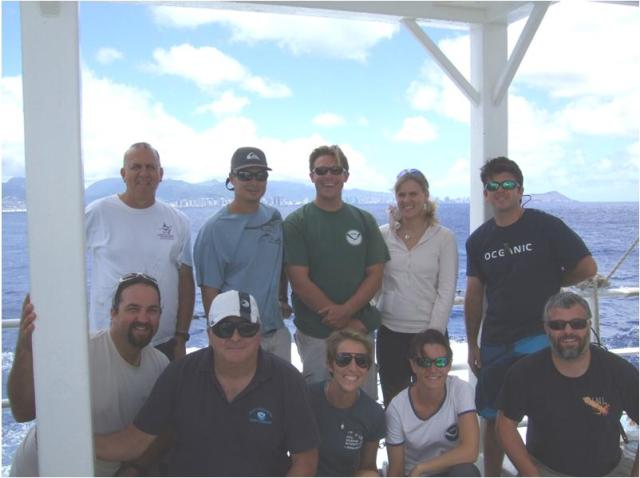 During this cruise, Chief Scientist Robert Humphreys (back row left) will lead a diverse research team that includes scientists from the NOAA Fisheries Pacific Island Fisheries Science Center in Honolulu (Jamie Barlow, Meagan Sundberg, Eric Mooney, Eric Breuer and Louise Giuseffi), the Monterey Bay Aquarium (Tommy Knowles and Justin Kantor), Hawaii Pacific University (Cassandra Pardee) and also an experienced Hawaii bottomfish fisherman, Eddie Ebisui III.