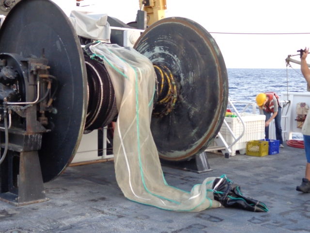 "Midwater Cobb trawl prior to deployment from the deck of the NOAA R/V Sette.  The back ""cod-end"" of the net is shown lying on the deck; the rest of the net is wrapped on to the net reel.  This net will be used to capture specimens of pelagic stage bottomfish.  After the tow is completed and the net retrieved, the black canvas bag (lying on deck) is opened to remove the catch."