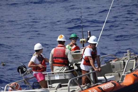 Bottomfish sampling team from left to right Meagan Sundberg, Jamie Barlow, Mills Dunlap, Eddie Ebisui III