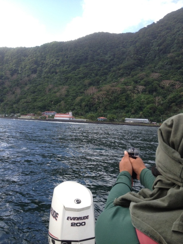 Ricky Misaalefua takes a sighting to create a Line of Position to be plotted on a nautical chart.