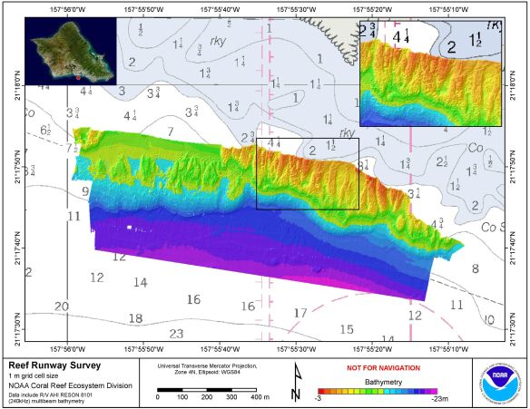 This map shows bathymetry, data on the depths and shapes of underwater terrain, from a previous survey of the grounding site of the USS Port Royal conducted with a multibeam sonar by the mapping team of the PIFSC Coral Reef Ecosystem Division in December 2010, also at the request of the Hawai`i Department of Land and Natural Resources. Bathymetry grids from both the 2010 and 2014 surveys will be compared to look for movement of rubble or other changes.