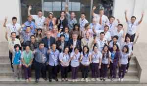 "Participants pose with trainers, support staff, and Chumnarn Pongsri—the Secretary General and Chief of the Training Department of the Southeast Asian Fisheries Development Center (SEAFDEC) who is shown in the middle of the second row wearing a tie—for a photo on Jan. 20 at the SEAFDEC training center in Samut Prakan, Thailand, during the training course entitled, ""Essential Ecosystem Approach to Fisheries Management."""