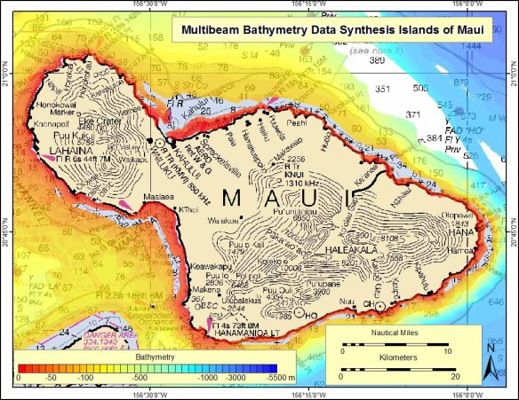 This map shows existing high-resolution bathymetry collected around Maui, color coded by depth and superimposed over a nautical chart.
