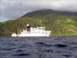 The NOAA Ship Hi`ialakai, seen off the coast of Anatahan, a northern island in the Commonwealth of the Northern Mariana Islands, during a previous monitoring cruise in the Mariana Archipelago in May 2009. NOAA photo by Bernardo Vargas-Ángel
