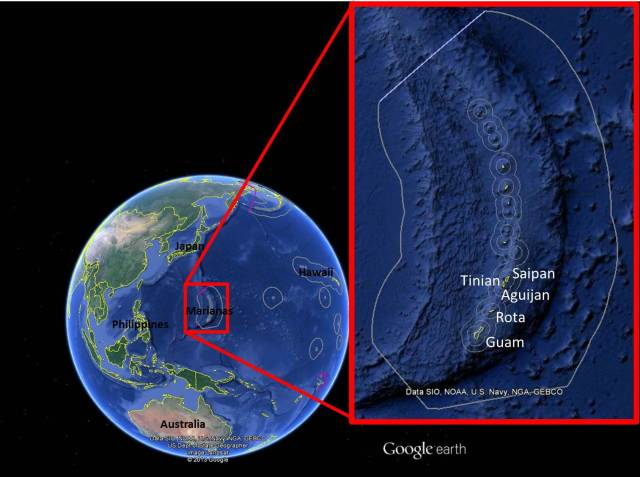 Figure 1: Location of the Marianas and the survey area within the southern islands.