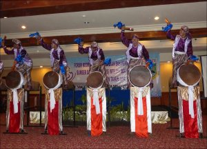 The opening ceremony at the workshop in Banten, Indonesia, included performances of traditional drumming and dance. NOAA photo by Rusty Brainard