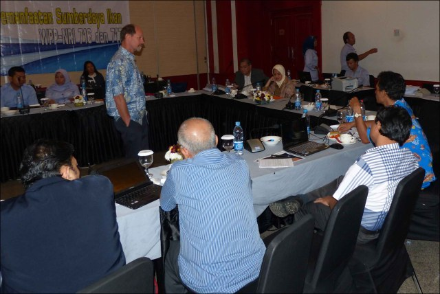 Rusty Brainard listens attentively to comments of a stakeholder from a Regional Forum for Coordination of Management and Utilization of Fish Resources at the workshop in Bogor, Indonesia. NOAA photo by Megan Moews-Asher