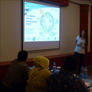 Megan Moews-Asher at the workshop in Bogor, Indonesia, presents the 5-step planning process for an ecosystem approach to fisheries management to stakeholders from the Regional Forums for Coordination of Management and Utilization of Fish Resources that represent the fisheries management areas WPP-716 and WPP-717. NOAA photo by Rusty Brainard