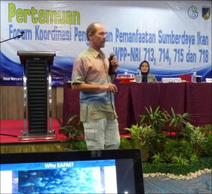 "Rusty Brainard makes a presentation on why Indonesia should engage in an ecosystem approach to fisheries management at the workshop in Palu, Indonesia, for stakeholders from the Regional Forum for Coordination of Management and Utilization of Fish Resources for the WPPs 713, 714, 715, and 718 (a fisheries management area is known as a ""WPP"" in Indonesia). NOAA photo by Megan Moews-Asher"