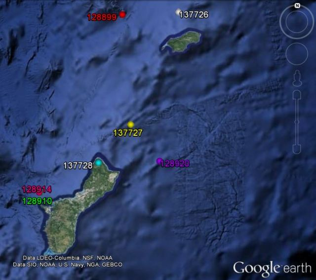 Figure 5: Satellite tag locations for short-finned pilot whales on 22 June.