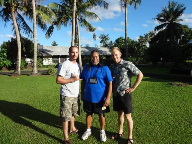 Left to right - Jesse Milton (NOAA Corps), Gataivai Talamoa and Refael Klein (NOAA Corps) after a One NOAA meeting