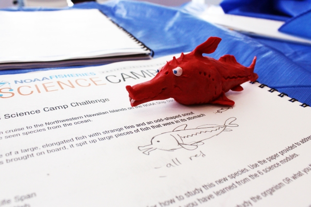 A clay model that was created by a camper for the Science Camp Challenge.