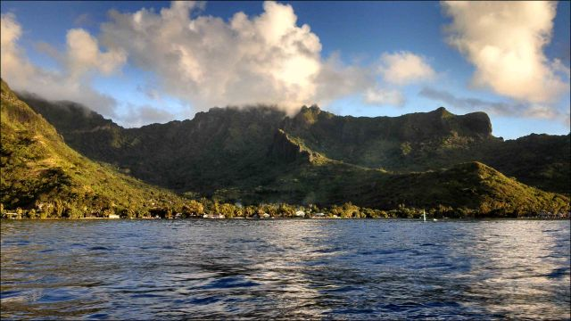 A view of Cook's Bay and its surrounding mountains, as seen from the R/V AHI at magic hour in the late afternoon of Aug. 1. NOAA photo by Kevin O'Brien