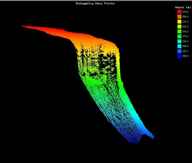 A 3-D view of a section of multibeam swath collected on the forereef of Mo'orea, showing bathymetry from a depth of 40 m down to almost 500 m. A steep dropoff is visible, starting at a depth around 70 m. Image credit: Joyce Miller, University of Hawai'i at Mānoa