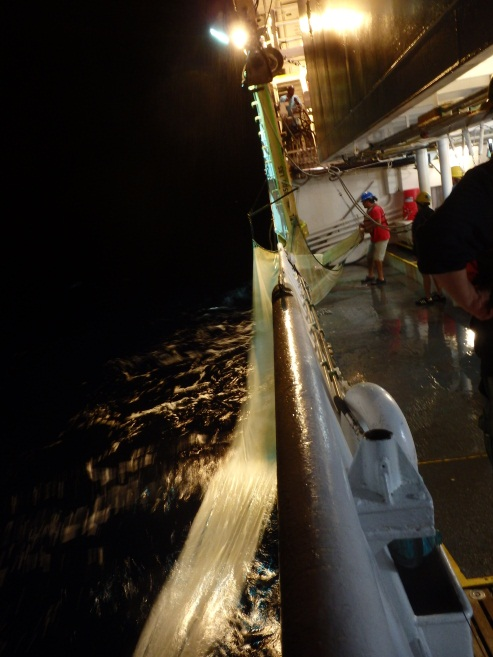 The Isaac's-Kidd (or IK trawl) is being pulled back onto the ship to collect samples
