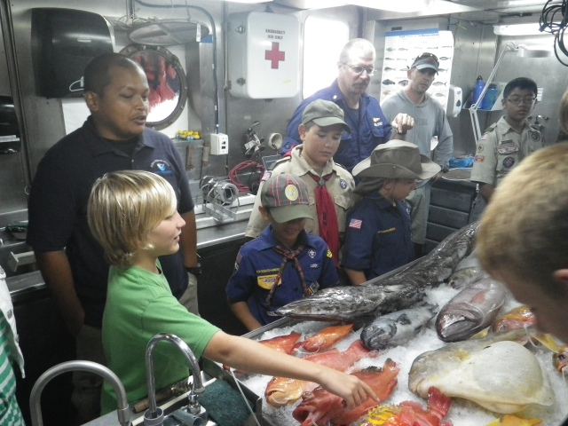 Eric Cruz explains to the scouts about the value of understanding the life history of fish in order to properly manage fish stocks.