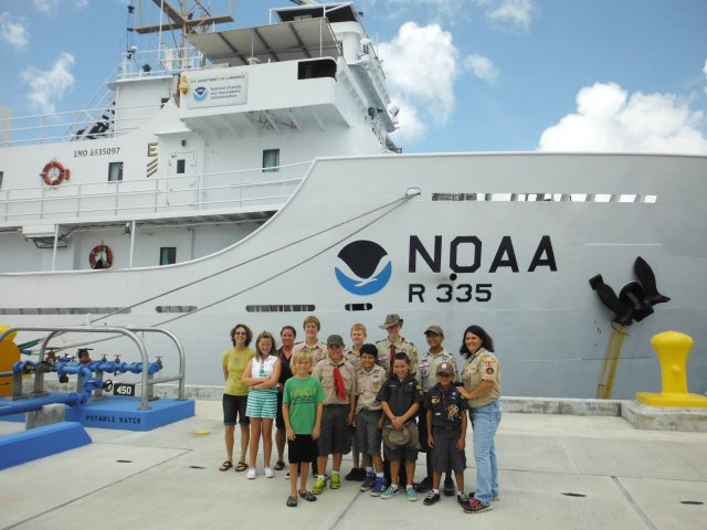 Boy Scouts troops 15, 20, & 23 all represented pier side in front of the NOAA Ship Oscar Elton Sette.
