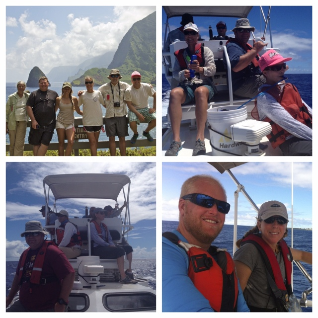 Collage of Molokai survey team members. Upper left, from left to right: Sarah Allan (NPS), Allan Ligon (PIFSC contractor), Ali Bayless (CRP-JIMAR), Marie Hill (CRP-JIMAR), Joe Carrier (NOAA Corps-HIHWNMS), and Erik Norris (NOAA Corps-CRP); photo by Sly Lee.  Upper right, clockwise: Marie, Daniel Webster (CRC), Erik, Allan, and Yvonne Barkley (CRP-JIMAR); photo by Amanda Bradford.  Lower left, clockwise: Allan, Petra Bertilsson (NPS), Ed Lyman (HIHWNMS), Erik, Daniel, and Erin Oleson (CRP); photo by Amanda Bradford.  Lower right, from left to right: Erik and Amanda Bradford (CRP); photo by Ed Lyman.