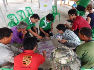 EAFM participants facilitating a group discussion with fishers to identify core problem of fishing community in Ban Krachur, Rayong province.