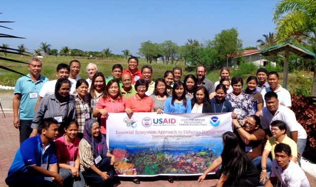Participants and trainers gather for a group photo during the Essential EAFM course in Dagupan City.