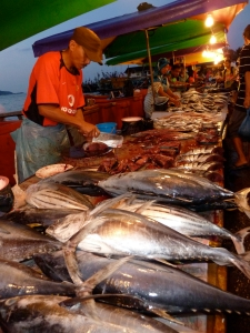 Fish market in Kota Kinabalu, Sabah, Malaysia.