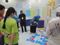 Workshop participants reexamine the results of a group exercise in the Medan workshop.