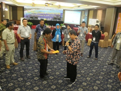 KKP workshop organizer and trainer prepare for a small group exercise with participants in Padang.