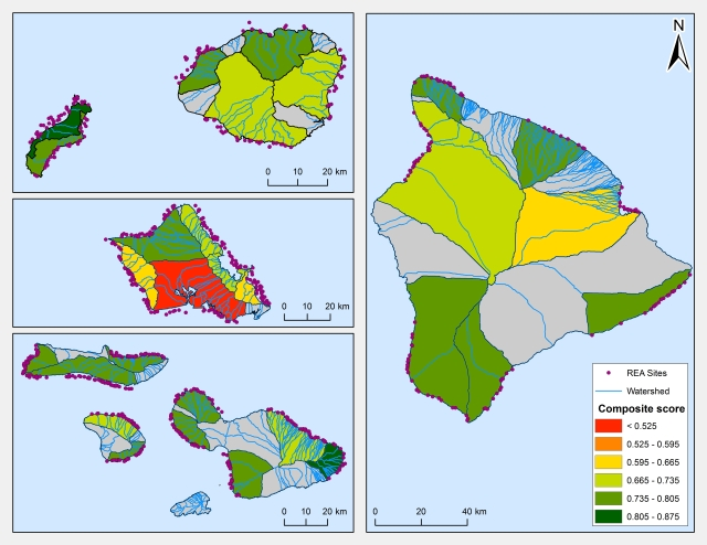 Figure 1. Composite resilience scores: Colors indicate the score for each georegion and encompass watersheds which drain onto the reef. Dots indicate locations of NOAA CRED in-water rapid ecological assessment surveys.