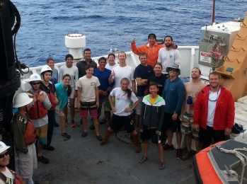 Figure 2: Group photo of scientific divers on the fantail of the ship. Photo credit Jim Bostick.