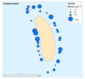 Figure 3: Total fish biomass (all species) at all sites surveyed around Howland Island.