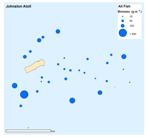 Figure 7: Total fish biomass (all species) at all sites surveyed around Johnston Atoll.
