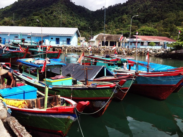 Fishing boats docked in West Sumatra, Indonesia. Photo by Supin Wongbusarakum