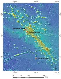 Image 2: Map of Study Region for Jarvis Island, Palmyra Atoll, and Kingman Reef.