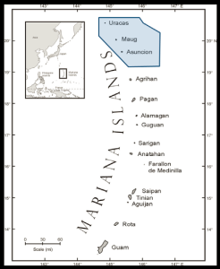 Mariana Islands map with approximate Islands Unit waters denoted (Adapted from Allen and Amesbury 2011, credited to Barry Smith)