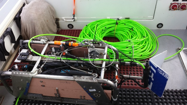 Towed Optical Assessment Device (TOAD) sled and her cable. Photo credit: LTJG Golmon