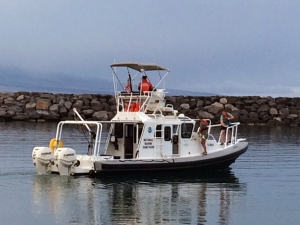 M/V Koholā outbound from south basin, Kawaihae Harbor for a day of seafloor surveying off West Hawai'i.