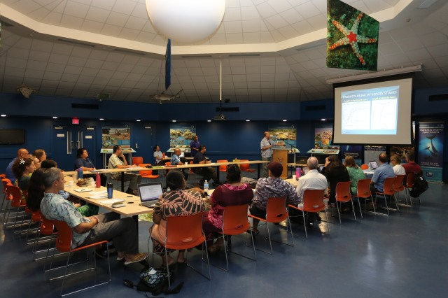 Dr. Bob Humphreys presenting on life history and biosampling in the Sunia Ocean Center, American Samoa