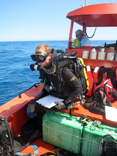 Andrew Gray pre-breathes to prepare his rebreather for five minutes prior to entering the water for a Stationary Point Count fish survey dive.