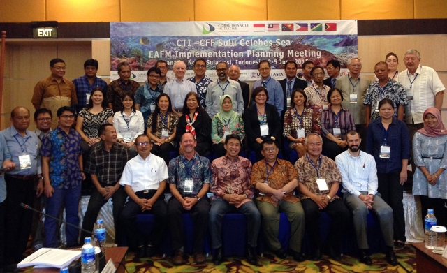 Participants in the 2015 CTI-CFF Sulu-Sulawesi Seascape EAFM Implementation Planning Meeting.